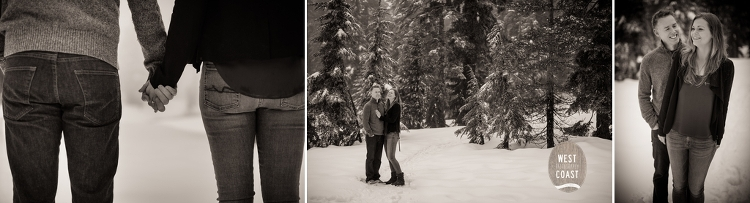 Snow Covered Mountain Engagement Pictures taken in Vancouver, BC by West Coast Photography